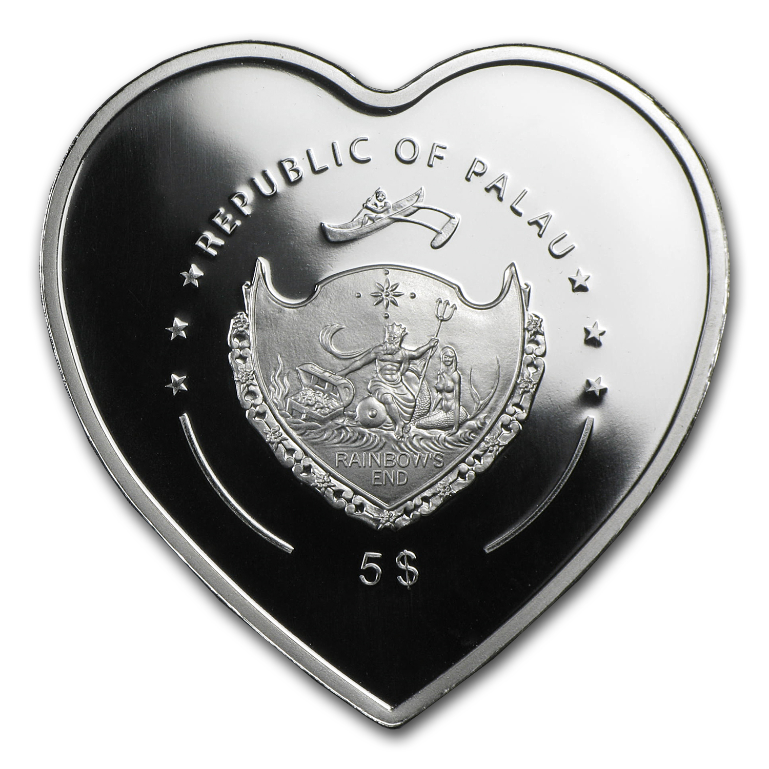 2009 Palau Silver $5 Good Luck & Prosperity Ladybug Heart Shape